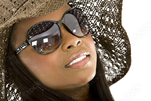 fashion girl portrait with sunglasses - isolated