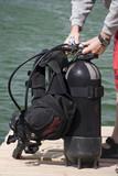 Preparing for dive, assembling scuba gear poster