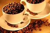 Fototapety Cups of coffee, full of beans..