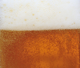 Close-up beer with froth