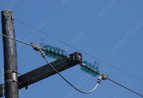 Detail of power line with glass insulators by thor jorgen for Glass power line insulators