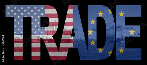 Trade text with American and European Union flags
