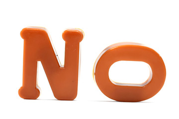 "Close-up of letters. ""No"" word."