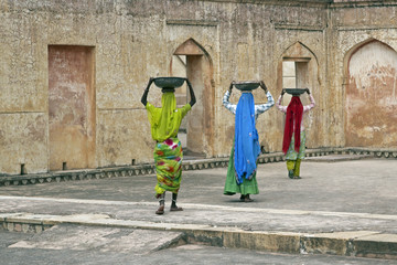 Indian Female Workers Rennovating an Old Fort