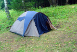 tent outdoors - camping in forest poster