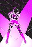 Disco girl dancing at the night club magenta spot lights poster