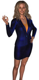 businesswoman in a blue costume (sales or hostes) poster