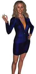 businesswoman in a blue costume (sales or hostes)