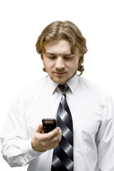 young businessman with mobile phone isolated on white
