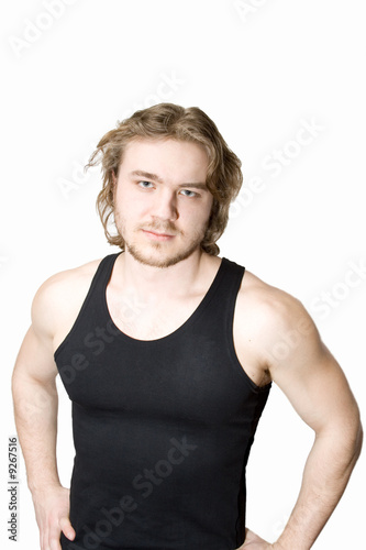 young sporsman in black isolated on white