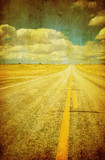 grunge image of highway and blue sky poster