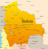Abstract vector color map of Bolivia country poster