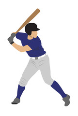 Colour silhouette of baseball player ready for strike