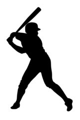Black silhouette of baseball player ready for strike