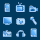 set of media icon vector poster