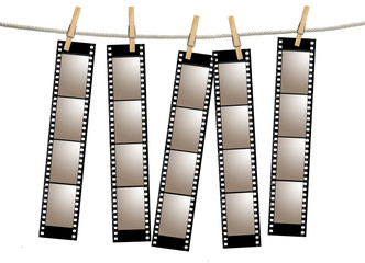 Blank 35mm Film Strip Negatives Hanging From A Rope