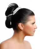 beautiful wedding  hairstyle on young adult woman poster
