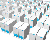 3d gray blue server structure perspective view background poster