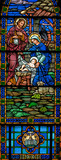 Stained glass window of Nativity from 1899 panorama