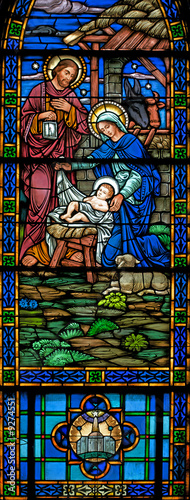 Stained glass window of Nativity from 1899 panorama - 9274551