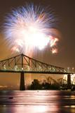 Fireworks Exhibition with bridge poster