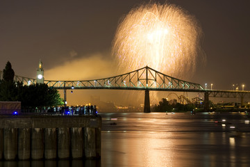 Fireworks Exhibition with bridge