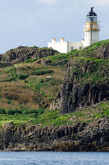 Fidra lighthouse from Yellowcraig beach, East Lothian, Scotland