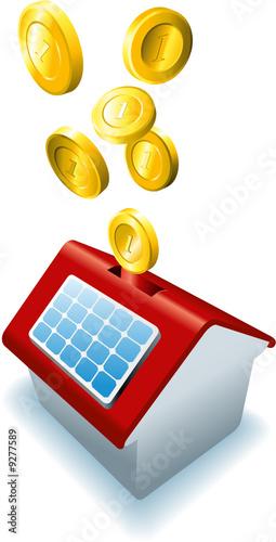 haus mit solarzellen als spardose mit m nzen by guukaa royalty free vectors 9277589 on. Black Bedroom Furniture Sets. Home Design Ideas