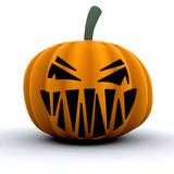 3D render of a scary pumpkin poster