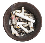 Ashtray full of stubs on a white background poster