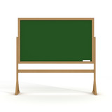 Blackboard with a chalk on a white background. 3D image. poster