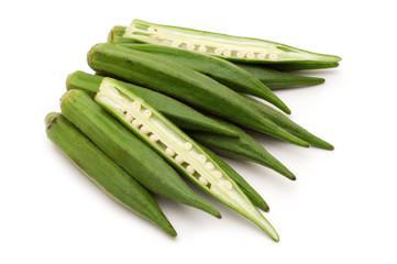 fresh slice okra on white background