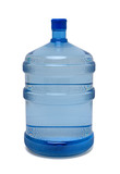Large bottle of purified drinking water on white poster
