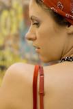closeup portrait of pretty brunet woman poster