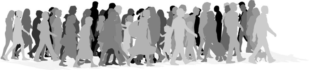 urban crowd,vector grayscale illustration