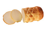 Traditional Polish cheese known as oscypek on white background poster