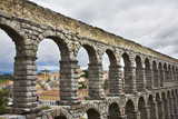 The well-known antique aqueduct and ancient Segovia poster