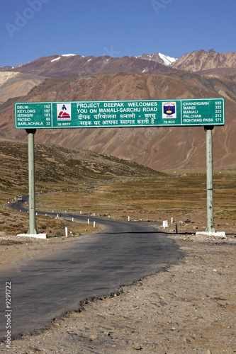 Road Sign on the Manali to Leh Highway in Ladakh