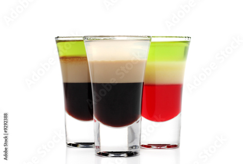Layered Alcoholic Cocktails Isolated on White Background - 9292388