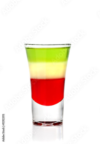 Layered Cocktail Shooter Isolated on White Background.
