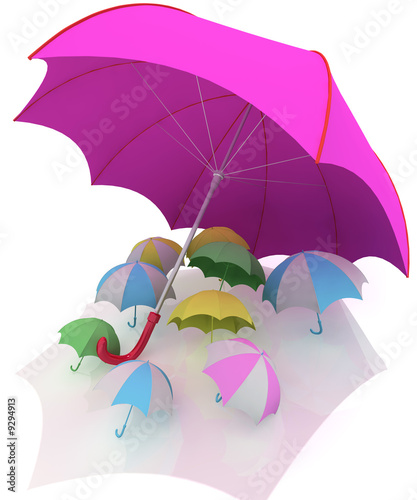 Colorful 3d rendered illustration of many  umbrellas