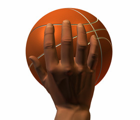 3d hand with basket ball isolated on a white background