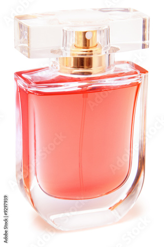 Bottle of perfume isolated on a white background