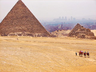 great egyptian pyramid in desert of africa