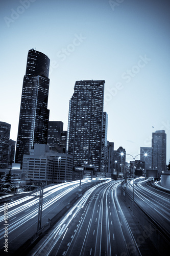 A time exposure shot of rush hour traffic in downtown Seattle