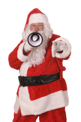 Pleasant middle-aged bearded man in a santa suit