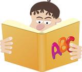 Schoolboy Reading Book. Easy To Edit Vector Image. poster
