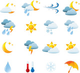 Weather Icon Set. Easy To Edit Vector Image. poster