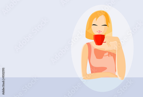 vector image of girl in coffee house