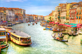 Venice Grand Canal view. Draw stylized photo (HDR). poster